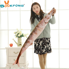 BOOKFONG Pc 50cm Creative Cute Simulation Saury Shaped Plush Fish Pillow Soft Plush Toys Children Lovely Saury Kawaii Kids Gifts