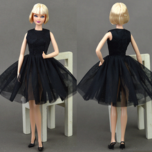 Doll Black Little Dress Cute Dancing Costume Ballet Dress Lace Skirt Dress Clothes For Barbie Doll Girls Love Christmas Gift Toy