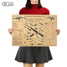 TIE LER The AK74 Gun Poster Vintage Kraft Paper Poster Wall Sticker Collection Bars Kitchen Drawings Poster Adornment(China)