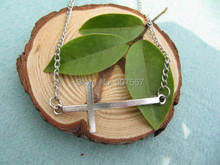 2pcs / lot wholesale Sideways Cross Necklace - Side cross Necklace in silver(China)
