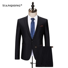 TIAN QIONG Mens Black Wool Suits Latest Coat Pant Designs Chinese Style Stand Collar Slim Fit Groom Wedding Suit Formal Wear(China)