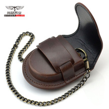 Fashion Brand male back / brown cover vintage classic pocket watch Box Holder Storage Case Purse Pouch Bag w/ Chain(China)