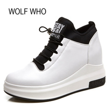 WOLF WHO Leather Hidden Heel White Wedge Sneakers Women Platform Shoes High Top Slipony Tenis Feminino Casual Basket Femme H-126(China)