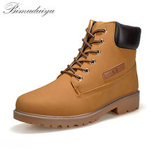 BIMUDUIYU  Trendy Cool Style Men's Ankle Thick Snow Boots PU Leather High Cut Male Casual Large Size 10.5 Riding Hiking Shoes