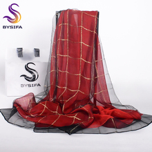 [BYSIFA] Winter Plaid Organza Silk Scarf Shawl Ladies Fashion Accessories Purplish Red Double Face Long Scarves Wraps 190*70cm