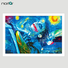 Wall Art Canvas Painting Joker Van Gogh Oil Paint Starry Night Decorative Art Canvas Print Modern Wall Decor Artwork No Frame