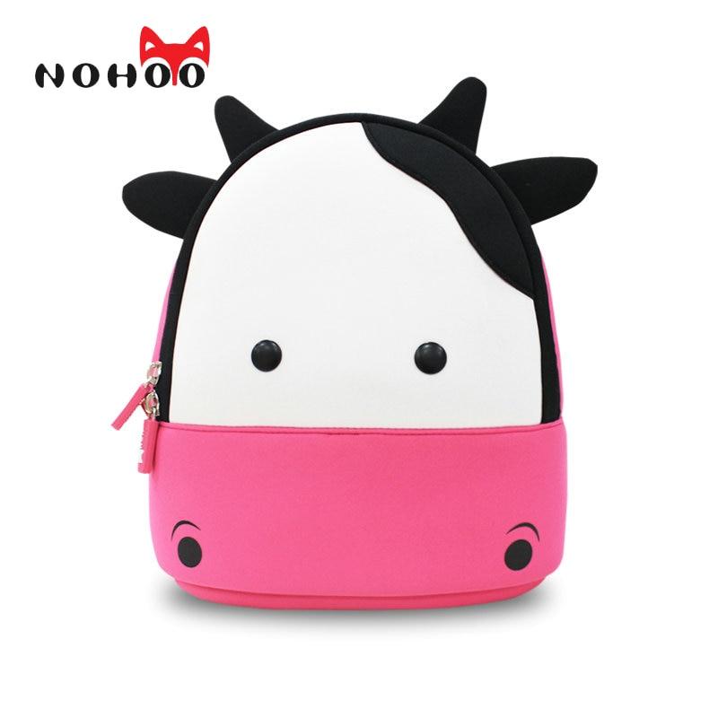 NOHOO New Arrival Animals Kids Baby Bags Waterproof Kindergarten 3D Cow School Bags For Girls Cute Cartoon School Bags<br><br>Aliexpress