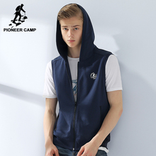 Pioneer Camp new hooded Vest men brand clothing fashion solid waistcoat male top quality sleeveless jacket grey blue AWY701012
