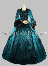 Marie Antoinette Victorian Period Dress Satin Lace Ball Gown Prom Wedding Reenactment Dress