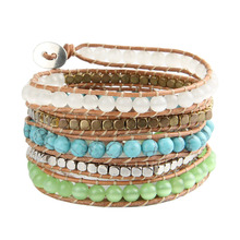 Korea Style Women leather bracelet Charming Bracelet Opal Bead 5 Leather Bracelet Handmade Rhinestone Metallic Bead Bangle SL