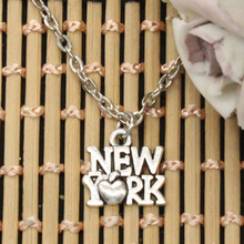 new fashion heart love New York Pendants round cross chain short long Mens Womens DIY silver necklace Jewelry Gift(China)