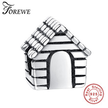 Forewe 925 Sterling Silver Crystal Charm European Family House Beads Fit Pandora Original Charms Bracelet diy jewelry marking