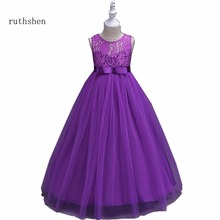 ruthshen Luxury Lace Tulle Flower Girl Dresses Kids Prom Party Ball Gown Floor Length Pageant Dress Vestidos de comunion 2018(China)