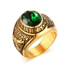 Men Quality Green Stone Ring Vintage Gold-Color Stainless Steel Ring Army Ring for Boys