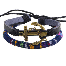 QN Caribbean Ships Anchor Cowhide Ornaments Colour Fabric Art Bracelet Wax Rope Weave Hand Decorate Small Department Store
