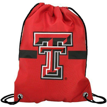 35*45 cm Knitted Polyester Texas Tech Red Raiders Scarlet Team Log Drawstring Backpack Wholesale