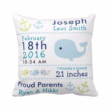 Custom Baby Birth Stats Cute Whale and Owl Throw Pillow Cover Decorative Pillow Case Cotton Polyester Baby Nursery Cushion Cover