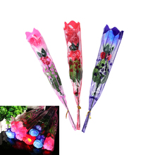 Random color 1PCS Rose Flower LED Light Up Valentine's Mothers Day Gift Birthday Party Supplies Wedding Decoration(China)