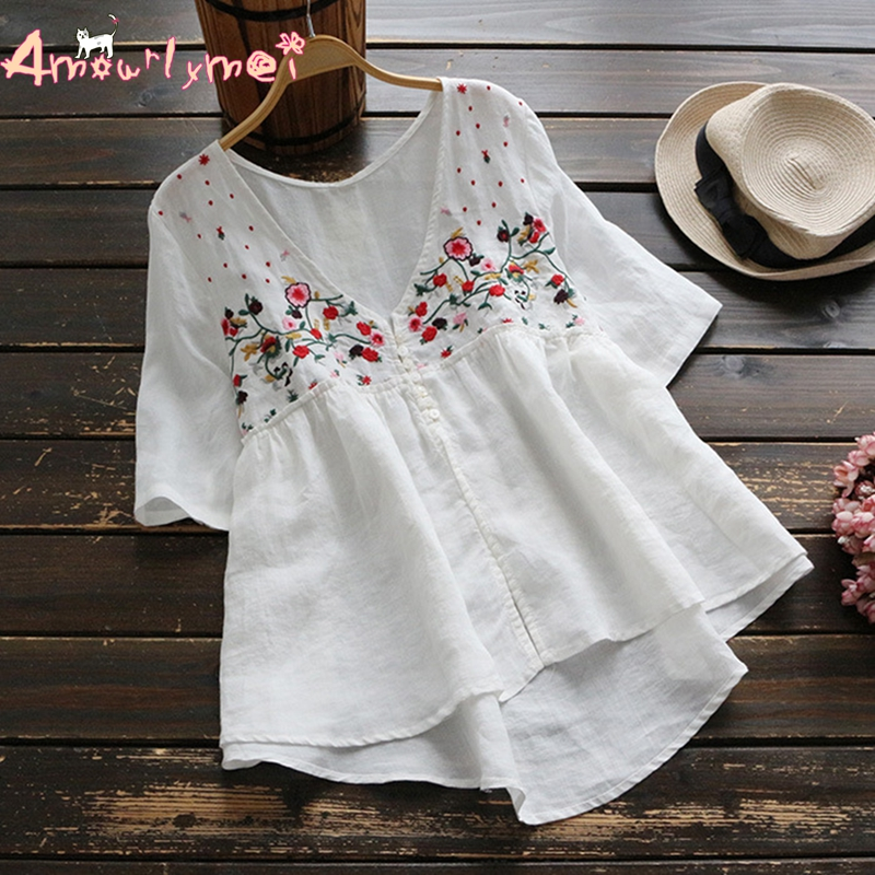 Amourlymei V-neck Floral Embroidery Short Sleeve Cotton Linen Blouse Mori Girl 2018 Summer New Women Shirt Tops Female