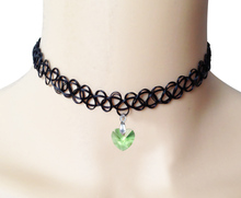 Punk Tattoo Choker Necklace Gothic Style Green Glass Crystal Pendant Women Jewelry Vintage Stretch Fishing Line Necklaces Gift