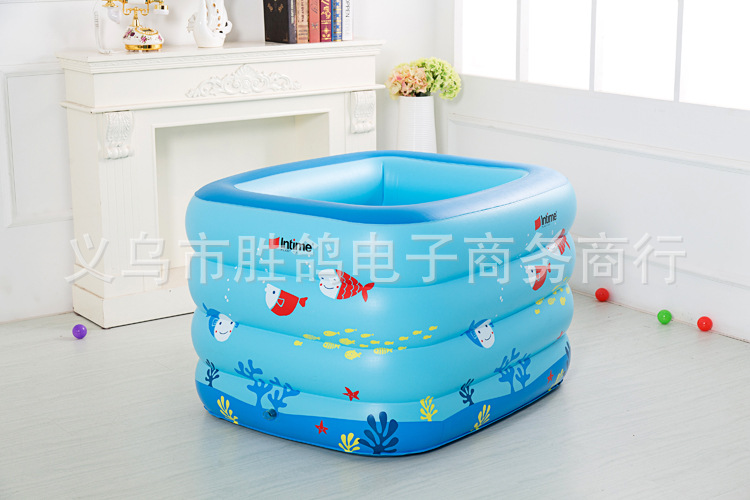 Kiddie Pool Baby bath tub kid Inflatable child bathtub Thickening Portable Swimming ocean ball pool 120x105x75cm