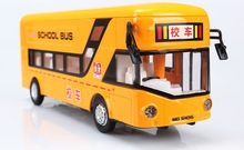 Alloy models single-deck buses in London school bus model car light music back to the bus(China)
