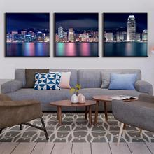 New 3 Pcs/set Landscape Colorful Night of Hong Kong City Prints On Canvas Painting Modern City Building Wall Art for Home Decor