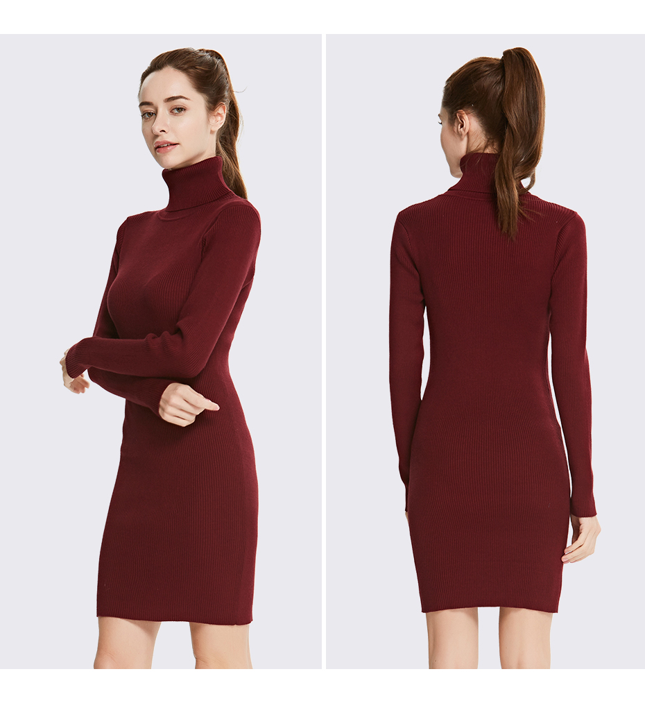 17 Winter High Collar Pullover Sweater Women Dress Slim Simple Sweaters pullovers long sleeve Dresses Package Hip Bottoming 7