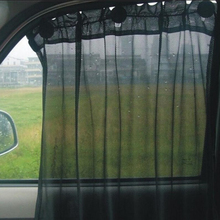 2016 Hot Black Car Sun Shade Side Window Curtain Auto Interior UV Protection Mesh Fabric(China)