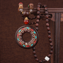 new vintage wood necklace, fashion Nepal flowers ethnic necklace women jewelry ,coconuts pendants necklace women jewelry(China)