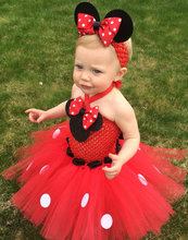 Cute Girls Red Mickey Crochet Tutu Dresses Baby 2Layers Fluffy Ballet Tutus with Dots Ribbon Bow and Headband Kids Party Dress