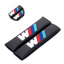 2X Car Seat Belt Cover Shoulder Pads 3 car-styling Carbon Fiber Seat Belt Shoulder For BMW E60 E90 F10 F15 F16 F30 M3 M5 F01 F02(China)
