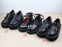 Comfortable Simple Design Girls Black Round Toe Platform Wedge Gothic Lolita Shoes