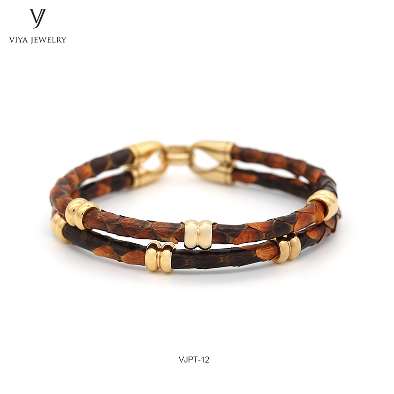 GENUINE PYTHON LEATHER MEN BRACELET WITH GOLD COLOR STAINLESS STEEL BEADS CLASP,BEST GIFT FOR MATCH UP WATCH (1)