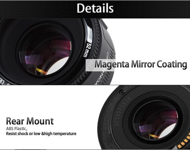 YONGNUO YN50mm F1.8 Camera Lens EF 50mm for Canon Aperture Auto Focus Lenses For EOS DSLR 700D 750D 800D 5D Mark II IV 10D 1300 13