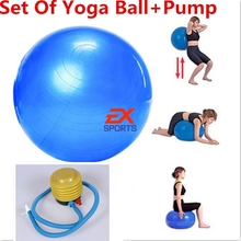 1Pcs Yoga Ball And Pump Set Fitness And Body Building Ball Exercise Pilates Banlance Bule Color Yoga Ball ES1323