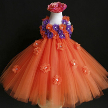 Orange and Purple Flower Girl Tutu Dress Orange Girl Dress Kids Baby Party Birthday Tutu Dress Great for holiday portraits PT129
