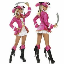 New pirate pink costume Queen pirate Game uniforms design pirate party costume(China)