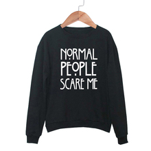 2017 S-XL Fashion Autumn Women Long Sleeve NORMAL PEOPLE SCARE ME Hoodies & Sweatshirts Casual Loose O-Neck Tops Tracksuit Bts