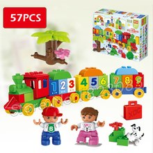 57pcs My First Number Train Model Building Blocks Action Learning Bricks Baby Toys Compatible With Lego Duplo