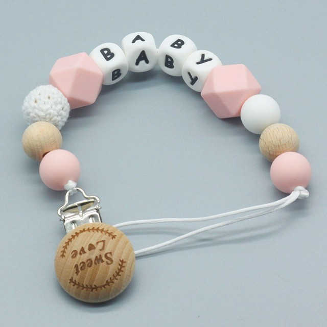New Handmade Wooden Dummy Clip Pacifier Chain Wooden Beads DIY Gifts With Box 6A