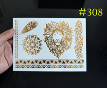 #308 Lion Tattoo Unique Animal Tattoo, Hot Sale Metallic Jewelry Tattoos! Temporary Tattoos!