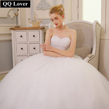 QQ Lover 2017 Robe De Mariage Princess Bling Bling Luxury Crystals White Ball Gown Wedding Dress Custom Made Vestido De Noiva(China)