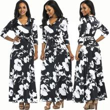 2017 Fashion Sexy Women's Long Sleeve Bandage Dress Graffiti Print Deep V Neck Floor-Length Maxi Dresses Evening Party xyh061(China)