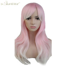 SNOILITE 24inch Party Cosplay Wig Ombre Blue Pink Purple Long Curly Wavy Synthetic Heat Resistant Full Hair Wigs Halloween(China)