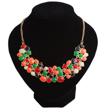 Factory Direct New Resin Necklace Link Chain Luxury Bohemian Jewelry For Females Acrylic Statement Jewellery Wholesale 4 Colors(China)