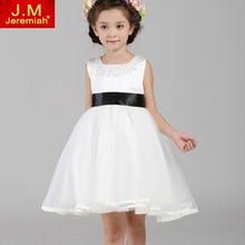 Baby Girl Lolita Style Girls Flower Girls White Wedding Dresses Princess Tutu Party Dress Beading Girls Sleevele Summer Dress