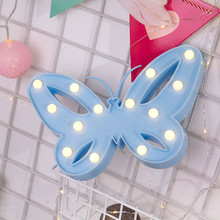 Butterfly Alphabet Lights LED Light Up White Plastic Letters Standing Hanging 2017 Party Wedding Decor String LED Battery Lights(China)