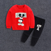 2017 Baby Boy Clothes winter Cartoon Boy Clothing Set Long sleeves Leisure boys t shirt+ Pant 2pcs kids clothes set(China)
