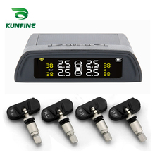 KUNFINE Smart Car TPMS Tyre Pressure Monitoring System Solar Energy TPMS Digital LCD Display Auto Security Alarm Systems(China)